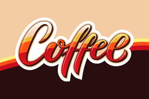 Dibujado a mano café texto Vector Premium