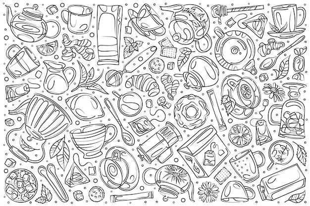 Dibujado a mano cafetería set doodle Vector Premium