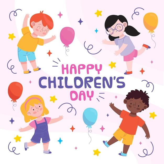 Dibujado a mano la celebración del día de los niños vector gratuito
