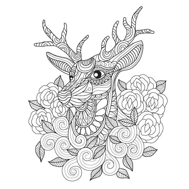 Dibujado a mano ciervos y rosa Vector Premium