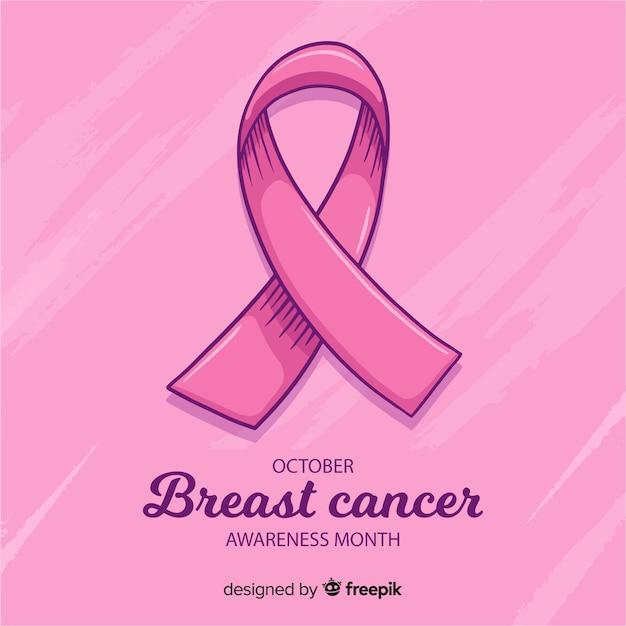 Dibujado a mano cinta rosa para símbolo de conciencia de cáncer de mama vector gratuito