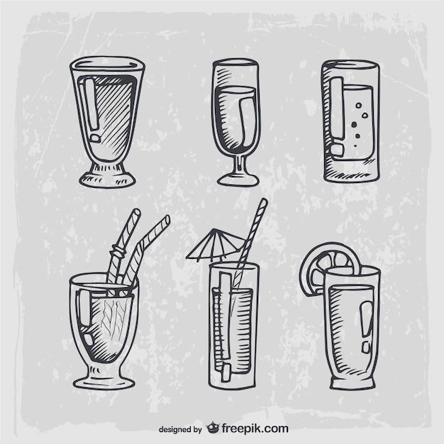 Dibujado a mano cócteles y bebidas alcohólicas vector gratuito