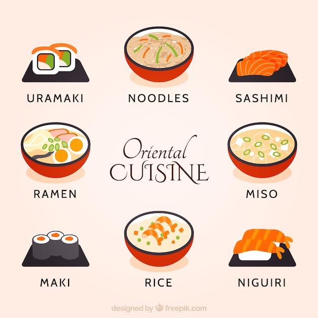 Dibujado A Mano La Coleccion Cocina Oriental Vector Gratis