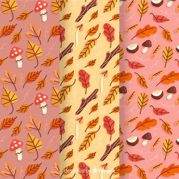 Dibujado a mano colección otoño patrón vector gratuito