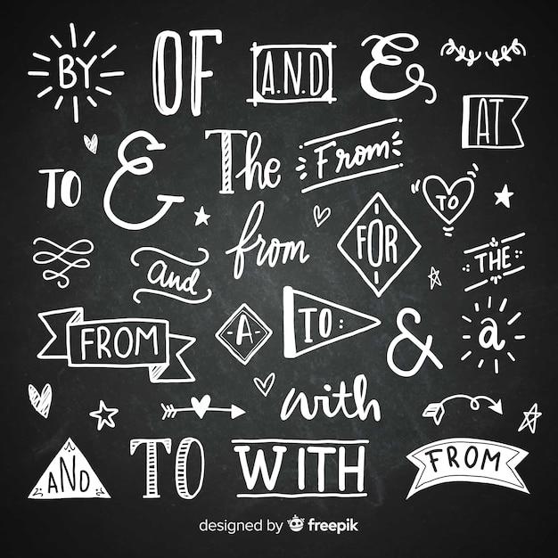 Dibujado a mano colección de palabras clave de la boda vector gratuito