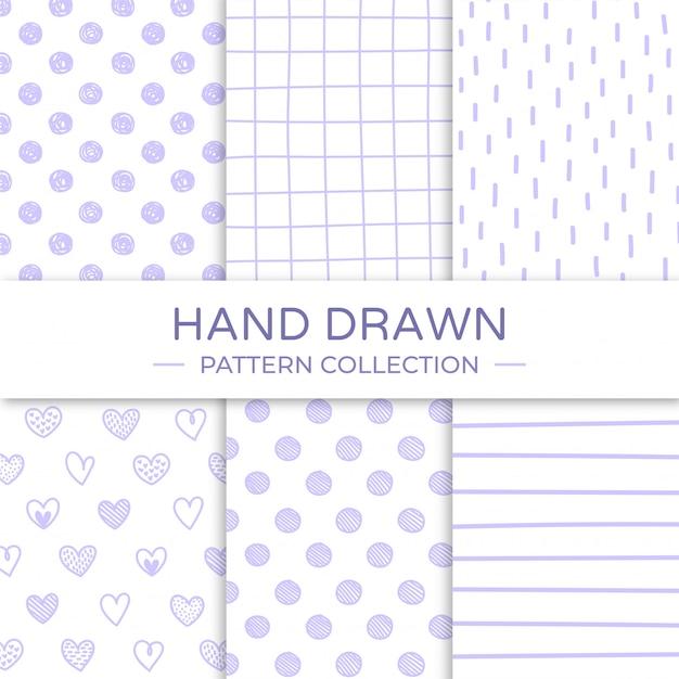 Dibujado a mano colección de patrones sin fisuras. Vector Premium
