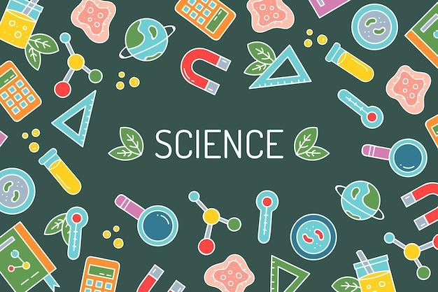 Dibujado a mano colorido fondo de educación científica vector gratuito
