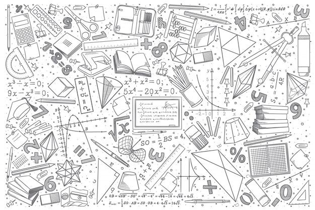 Dibujado a mano conjunto de doodle de matemáticas Vector Premium