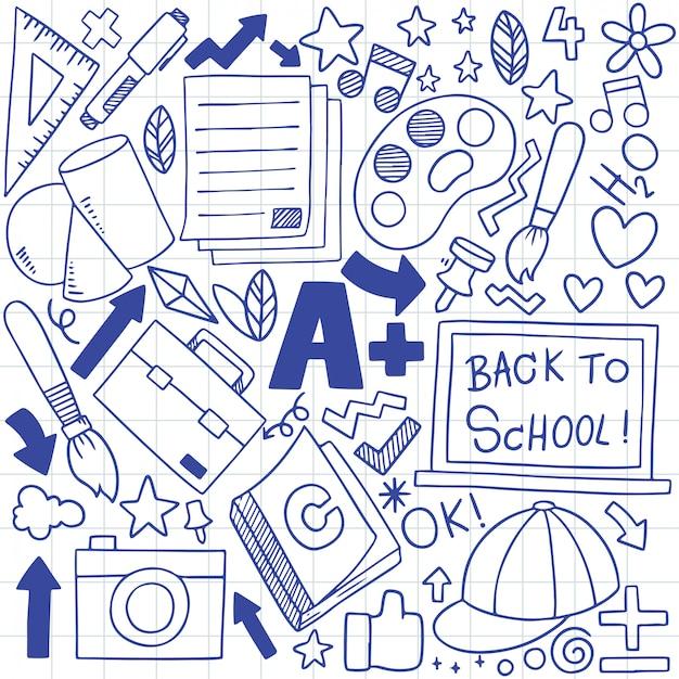 Dibujado a mano conjunto de iconos de la escuela adornos de fondo Vector Premium
