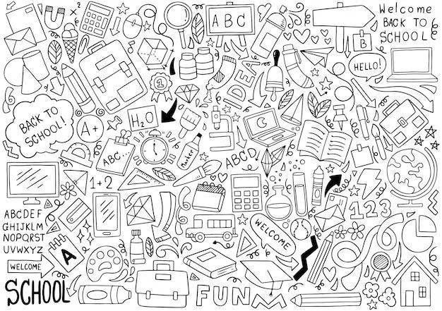 Dibujado a mano conjunto de iconos de la escuela adornos patrón de fondo Vector Premium