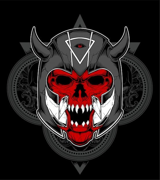 Dibujado a mano cráneo guerrero espartano con casco antiguo. ilustración Vector Premium