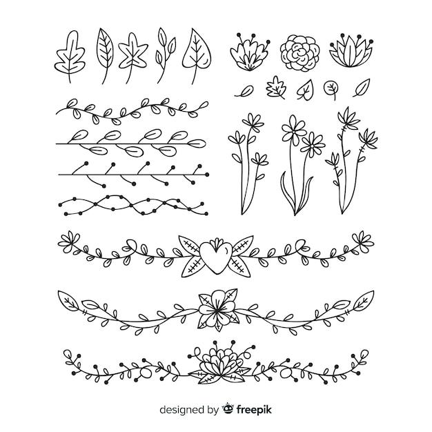 Dibujado a mano detallada colección de adornos florales vector gratuito