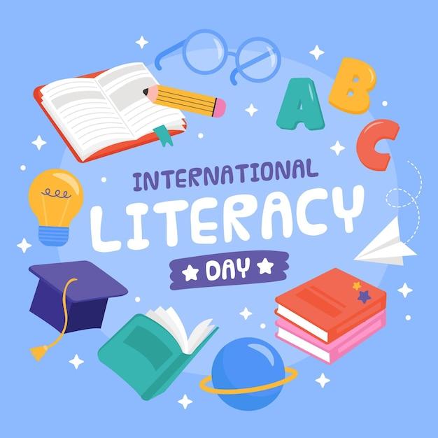 Dibujado a mano el día internacional de la alfabetización Vector Premium
