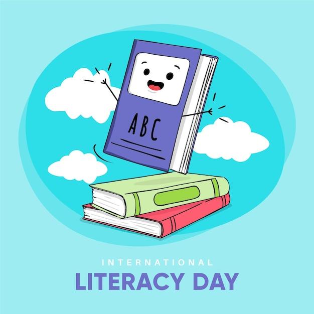 Dibujado a mano el día internacional de la alfabetización vector gratuito