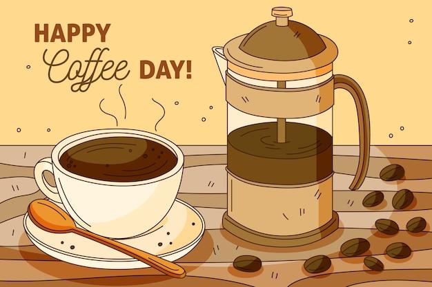 Dibujado a mano día internacional del café con cafetera de
