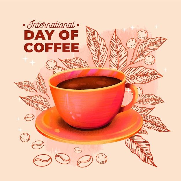 Dibujado a mano día internacional del café con taza vector gratuito