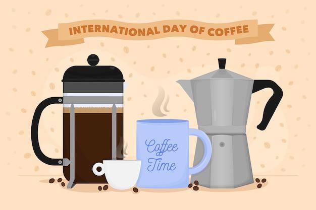 Dibujado a mano día internacional del café vector gratuito