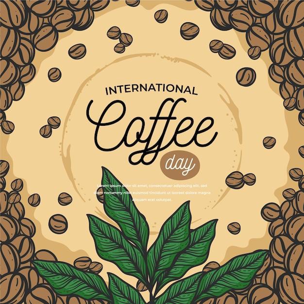 Dibujado a mano día internacional del café Vector Premium