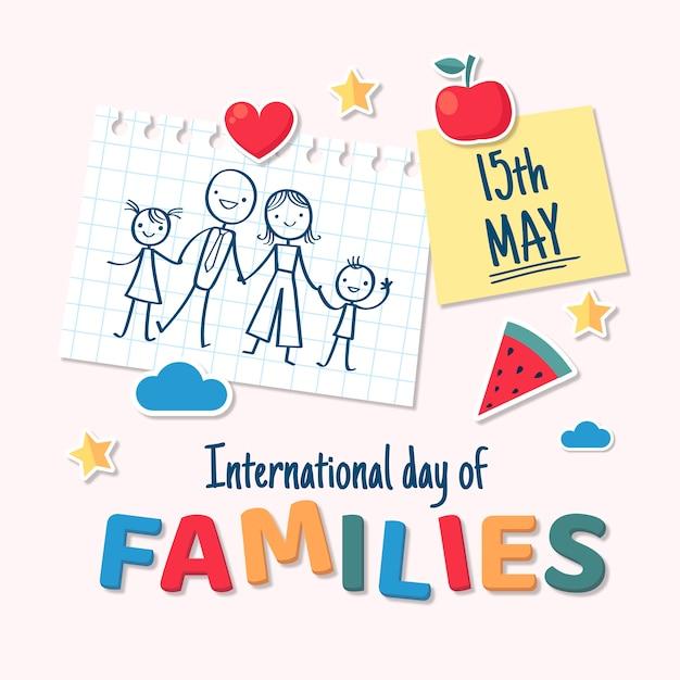 Dibujado a mano día internacional de las familias vector gratuito