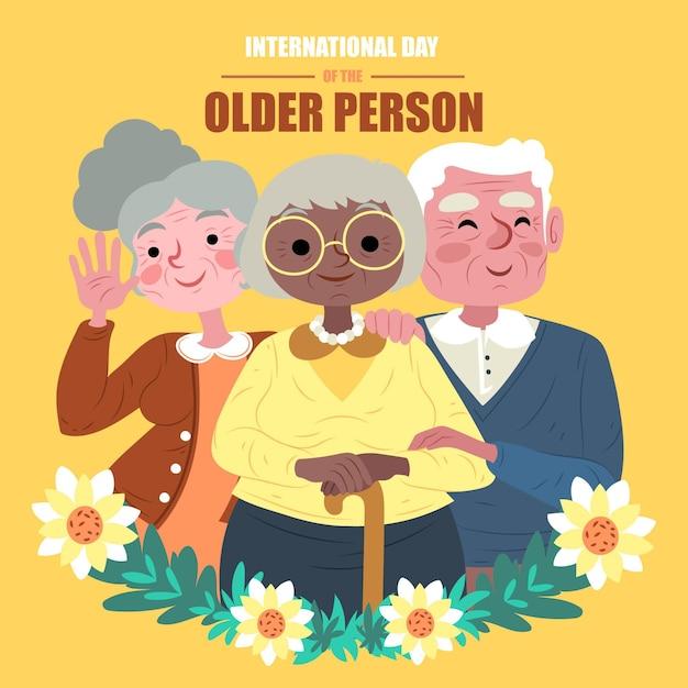 Dibujado a mano día internacional de las personas mayores. vector gratuito