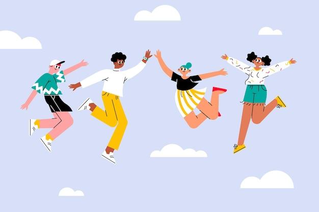 Dibujado a mano día de la juventud con gente saltando vector gratuito