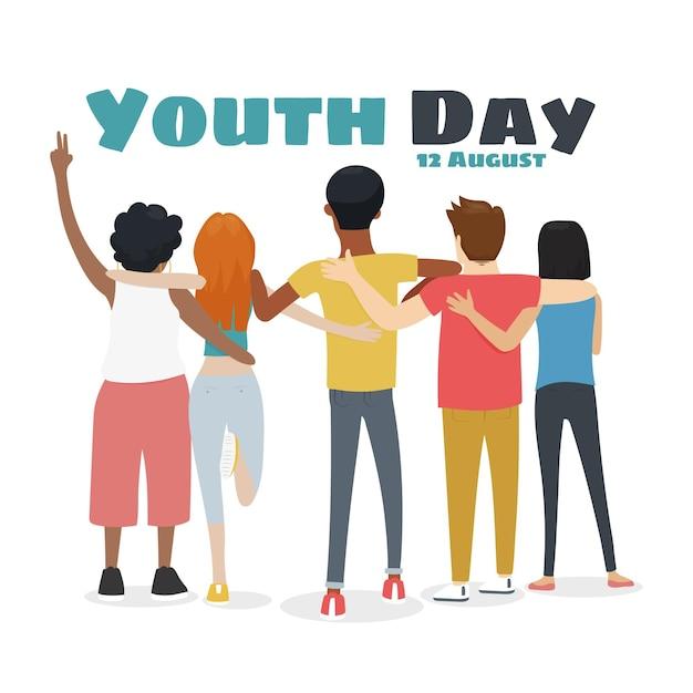 Dibujado a mano día de la juventud - personas abrazándose juntas vector gratuito