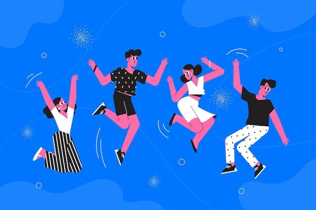 Dibujado a mano día de la juventud saltando personas vector gratuito