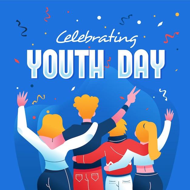 Dibujado a mano día de la juventud Vector Premium