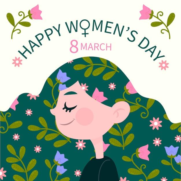 Dibujado a mano el día de la mujer femenina con flores en el pelo vector gratuito
