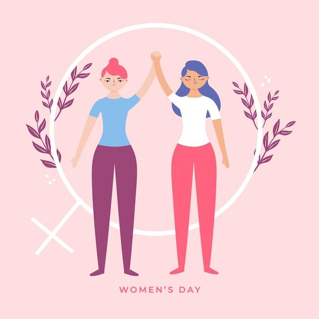Dibujado a mano el día de la mujer con mujeres tomados de la mano vector gratuito