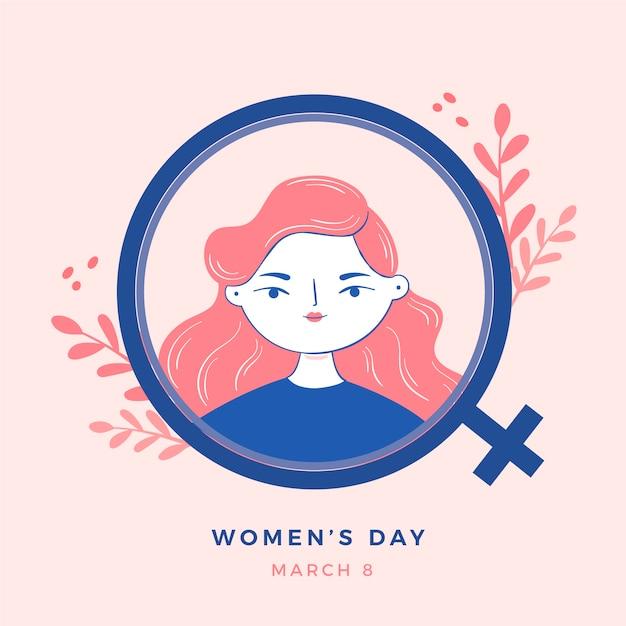 Dibujado a mano el día de la mujer con signo femenino vector gratuito