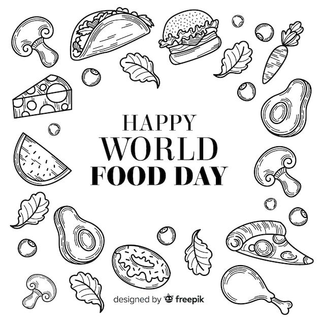 Dibujado a mano el día mundial de la comida en blanco y negro vector gratuito