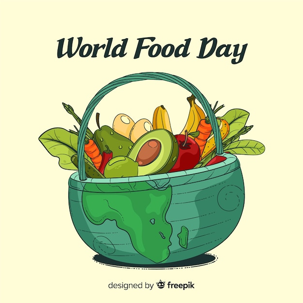 Dibujado a mano el día mundial de la comida en una cesta vector gratuito