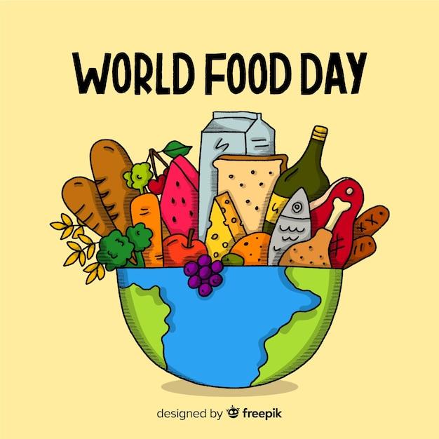 Dibujado a mano el día mundial de la comida con tazón de planeta vector gratuito
