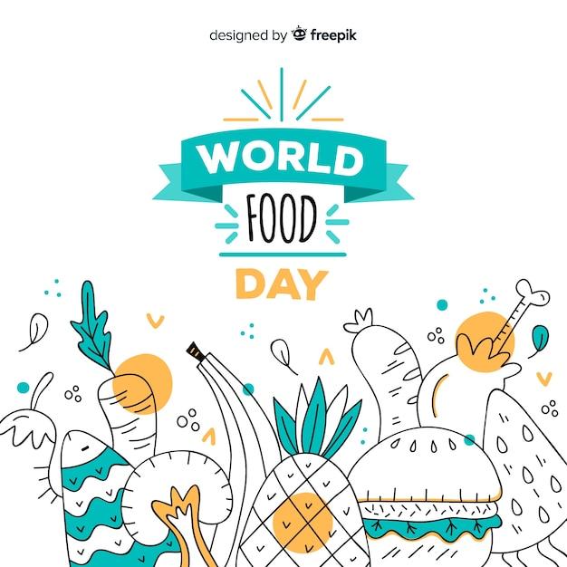 Dibujado a mano el día mundial de la comida vector gratuito