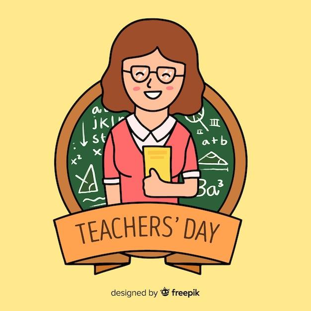 Dibujado a mano el día mundial de los docentes con una mujer sosteniendo libros vector gratuito