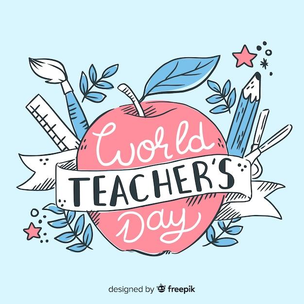 Dibujado a mano el día mundial del maestro en manzana roja vector gratuito