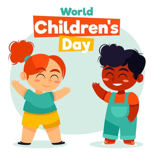 Dibujado a mano día mundial del niño vector gratuito