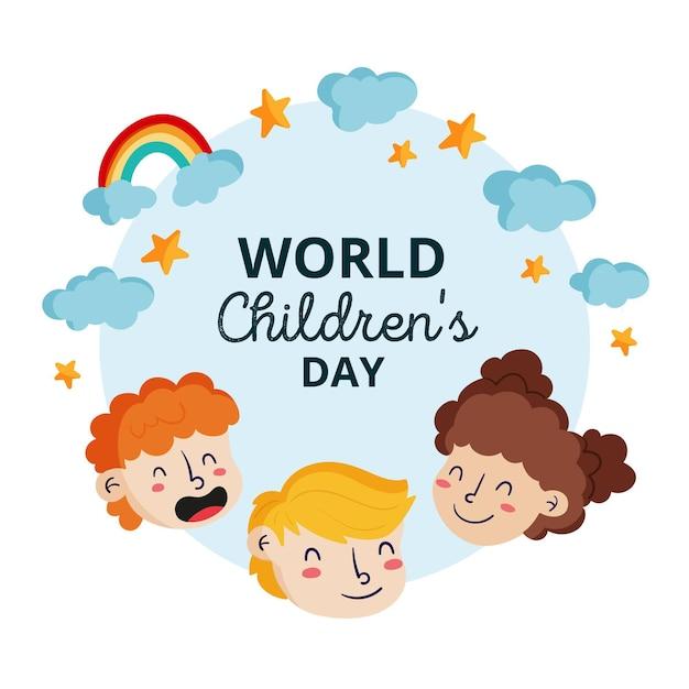 Dibujado a mano día mundial del niño Vector Premium