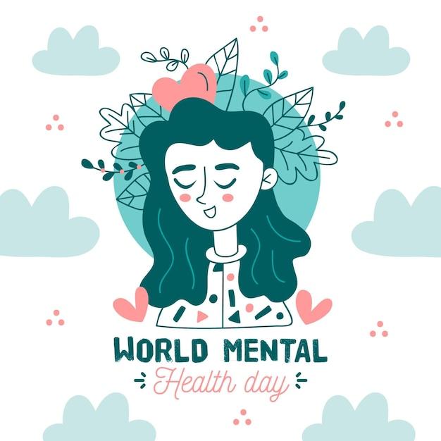 Dibujado a mano día mundial de la salud mental vector gratuito
