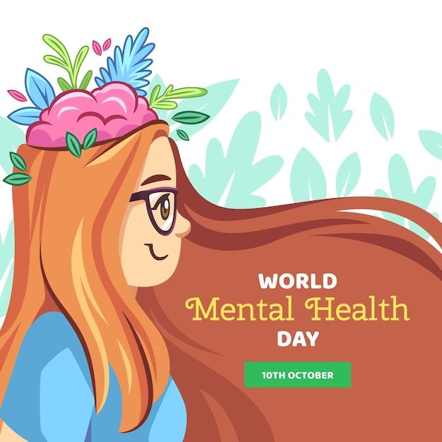 Dibujado a mano día mundial de la salud mental Vector Premium