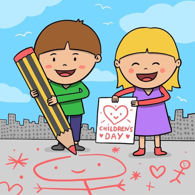 Dibujado a mano el día del niño vector gratuito