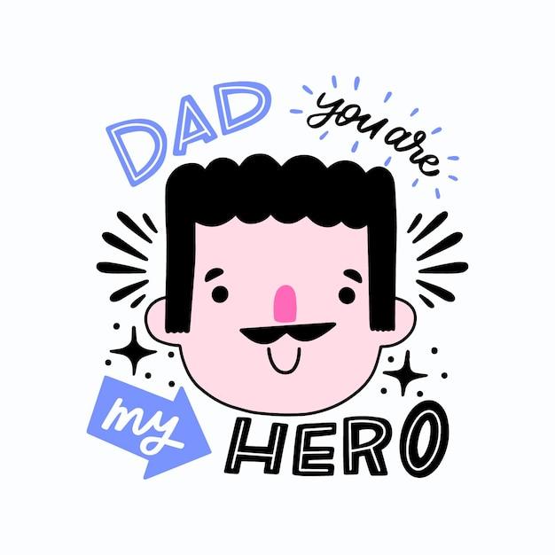 Dibujado a mano el día del padre vector gratuito