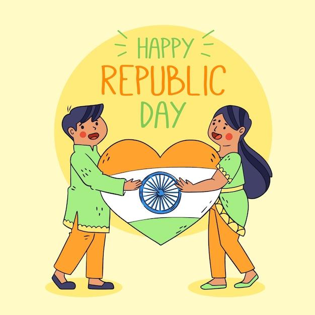 Dibujado a mano día de la república india con la bandera del corazón vector gratuito
