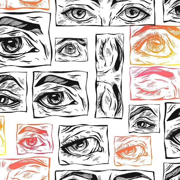 Dibujado a mano dibujo abstracto de patrones sin fisuras con ojos místicos femeninos y formas de collage con textura simple Vector Premium
