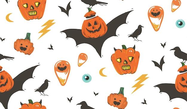 Dibujado a mano dibujos animados abstractos feliz halloween ilustraciones de patrones sin fisuras con cuervos, murciélagos, calabazas y caligrafía moderna sobre fondo blanco. Vector Premium