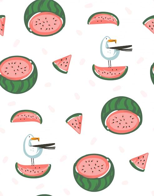 Dibujado a mano dibujos animados gráficos abstractos horario de verano ilustraciones de patrones sin fisuras con sandías sobre fondo blanco Vector Premium