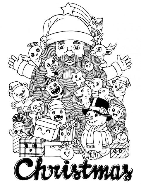 Dibujado a mano de dibujos animados lindo doodle navidad. Vector Premium