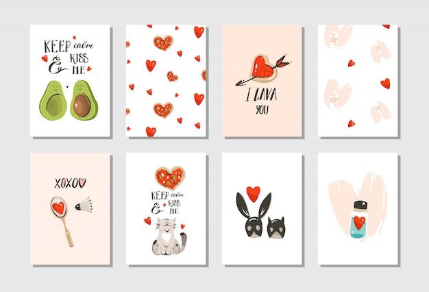 Dibujado a mano dibujos animados modernos abstractos feliz día de san valentín concepto ilustraciones conjunto de tarjetas con lindos gatos, pizza, corazones, aguacate y caligrafía manuscrita sobre fondo blanco. Vector Premium