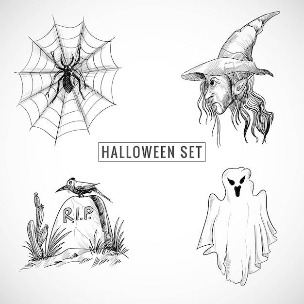 Dibujado a mano diseño de boceto de halloween vector gratuito